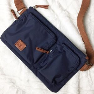 The Sak Esperato Belt Bag Navy Camel Fanny Cross